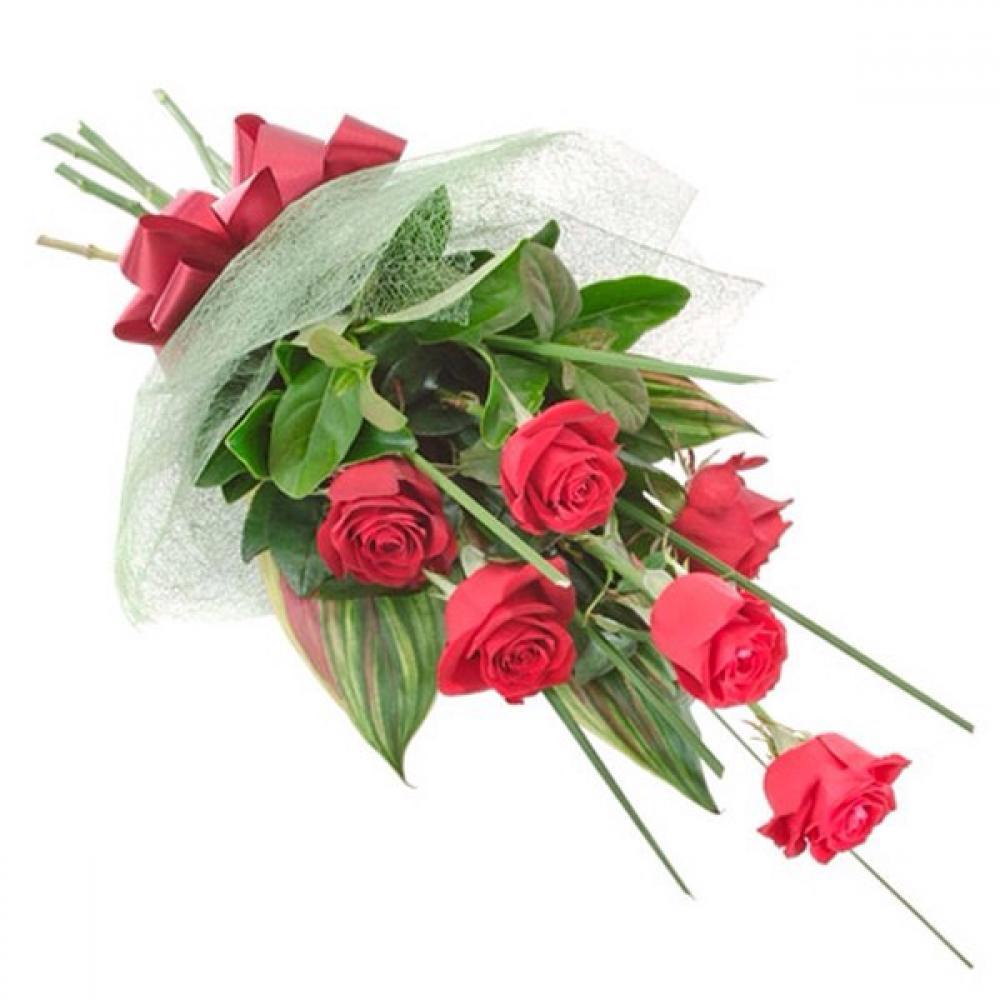 Оформить букет из 5 роз, цветов